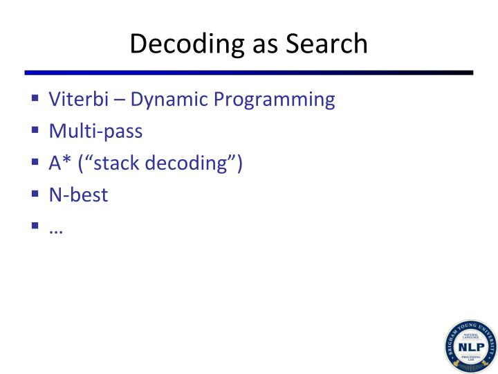 Decoding as Search