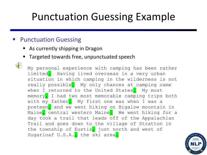 Punctuation Guessing Example