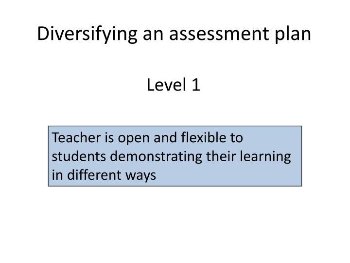 Diversifying an assessment plan