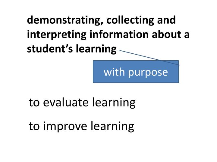demonstrating, collecting and interpreting information about a student's learning