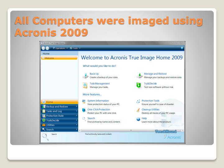All Computers were imaged using Acronis 2009