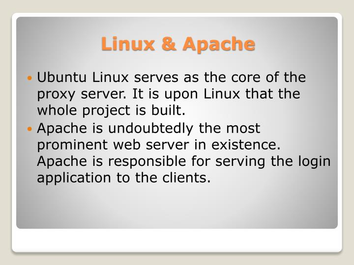Ubuntu Linux serves as the core of the proxy server. It is upon Linux that the whole project is built.
