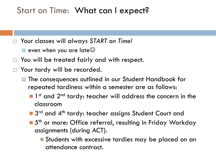 Start on Time: