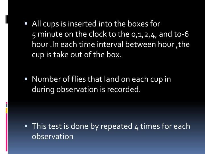 All cups is inserted into the boxes for 5 minute on the clock to the 0,1,2,4, and to-6 hour .In each time interval between hour ,the cup is take out of the box.