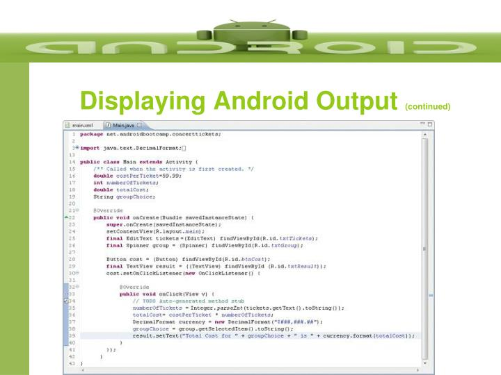 Displaying Android Output