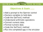 objectives goals continued