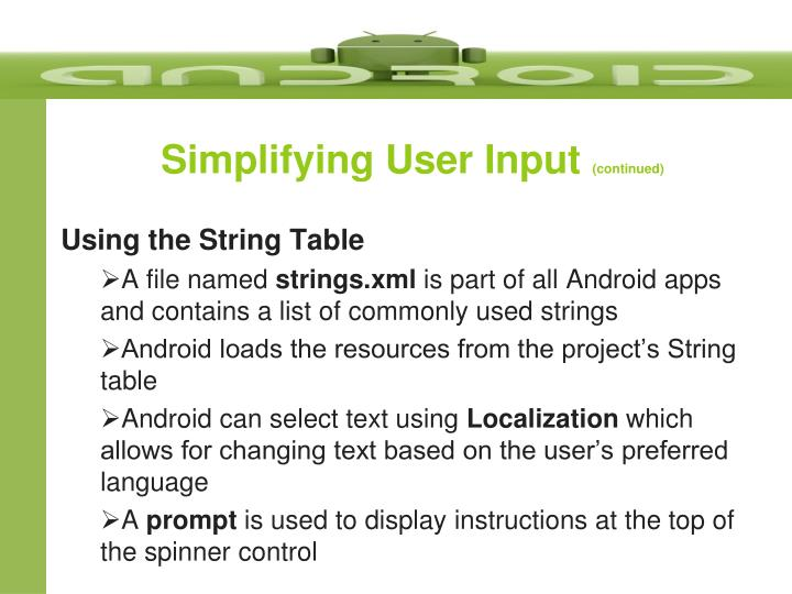 Simplifying User Input