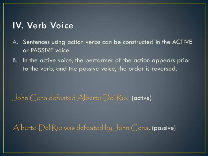 IV. Verb Voice