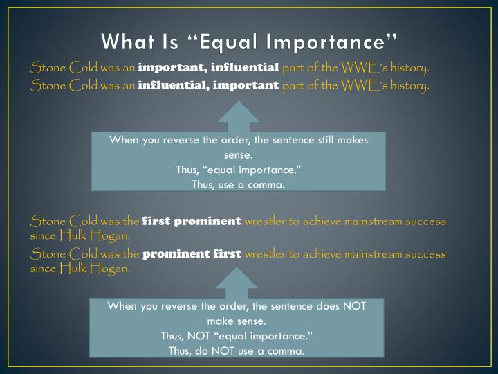 """What Is """"Equal Importance"""""""