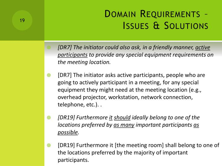 Domain Requirements –