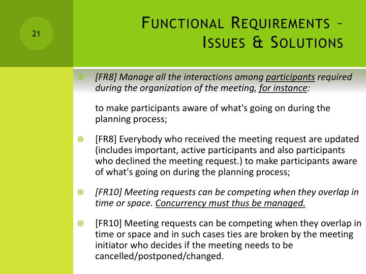 Functional Requirements – Issues & Solutions