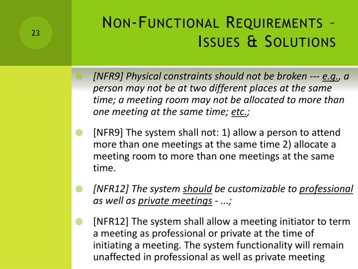 Non-Functional Requirements – Issues & Solutions