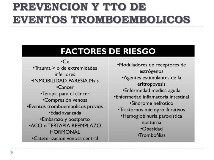 PREVENCION Y TTO DE EVENTOS TROMBOEMBOLICOS