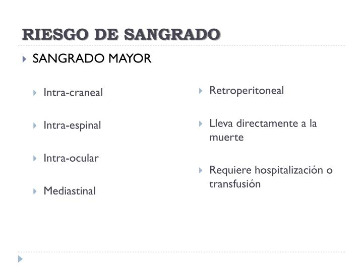RIESGO DE SANGRADO