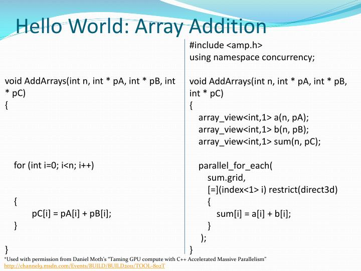 Hello World: Array Addition