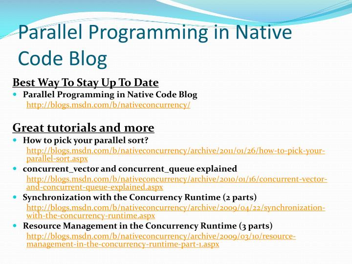 Parallel Programming in Native Code Blog