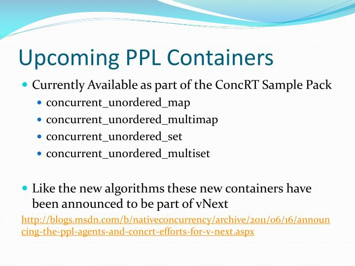 Upcoming PPL Containers