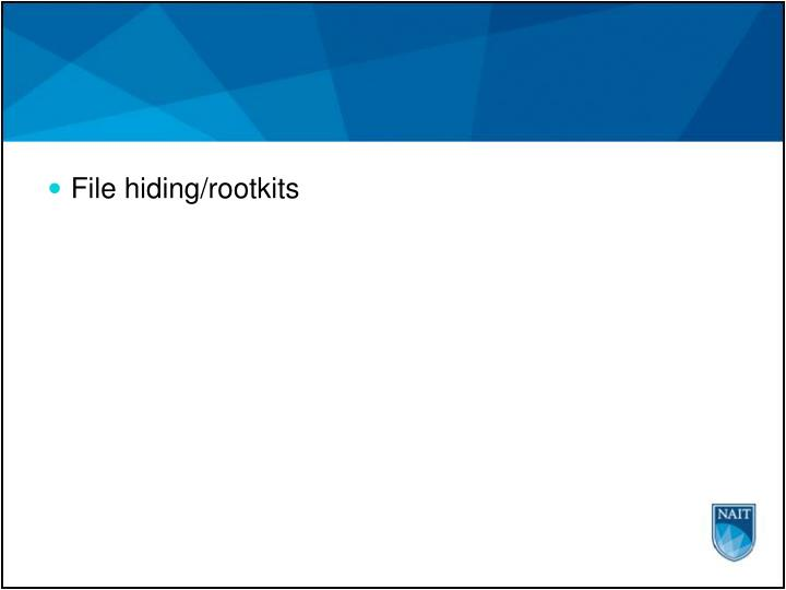 File hiding/rootkits