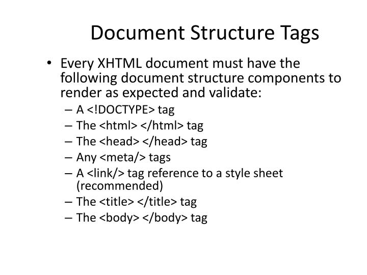 Document Structure Tags