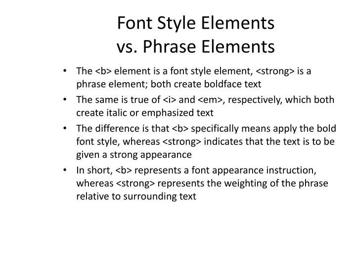Font Style Elements