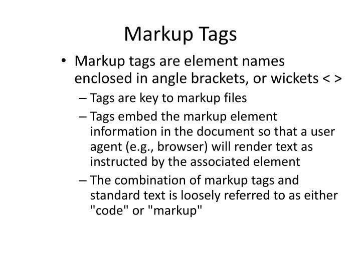 Markup Tags