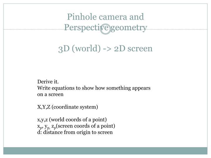Pinhole camera and