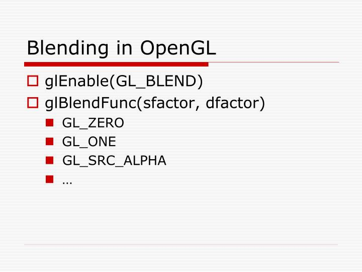 Blending in OpenGL