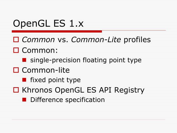 OpenGL ES 1.x