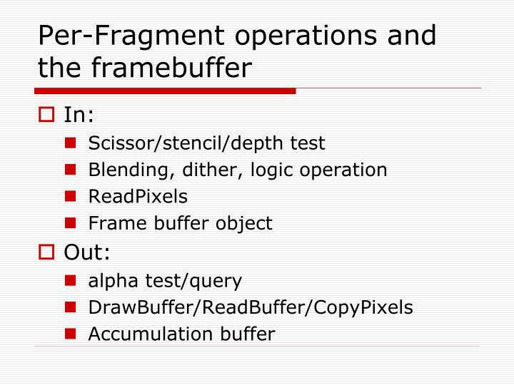 Per-Fragment operations and the
