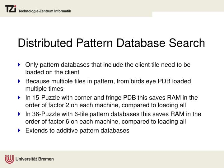 Distributed Pattern Database Search