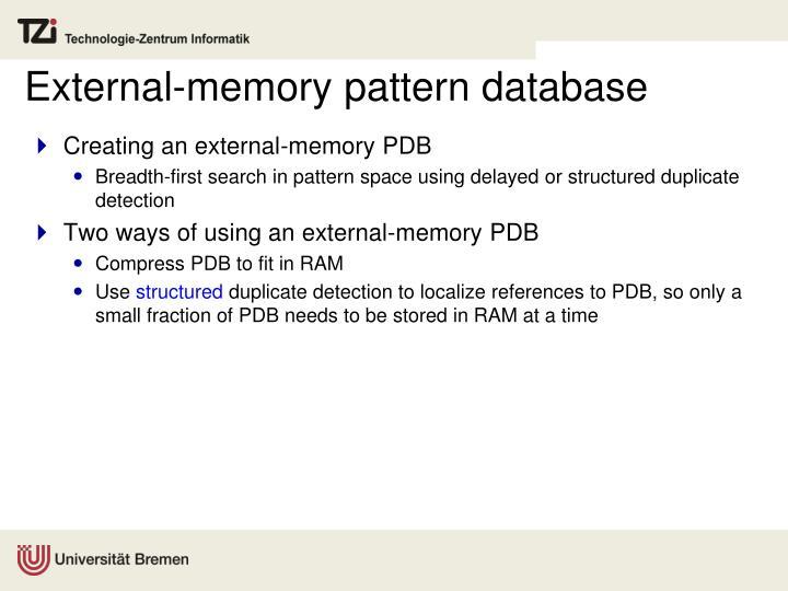 External-memory pattern database