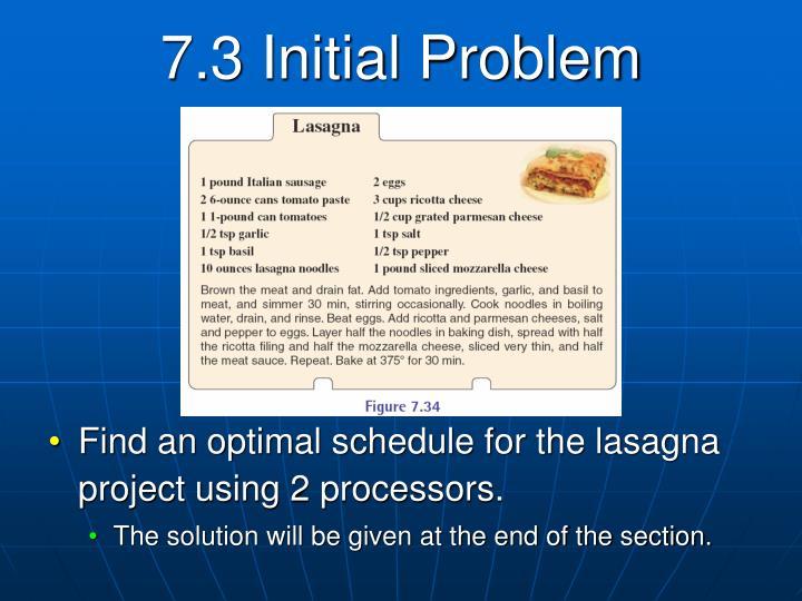 7.3 Initial Problem