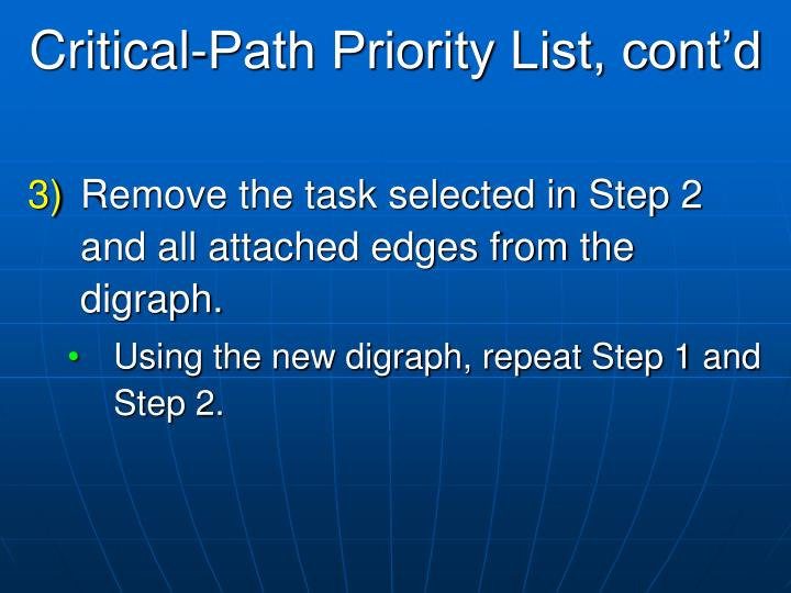 Critical-Path Priority List, cont'd