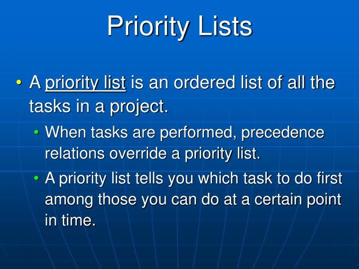 Priority Lists