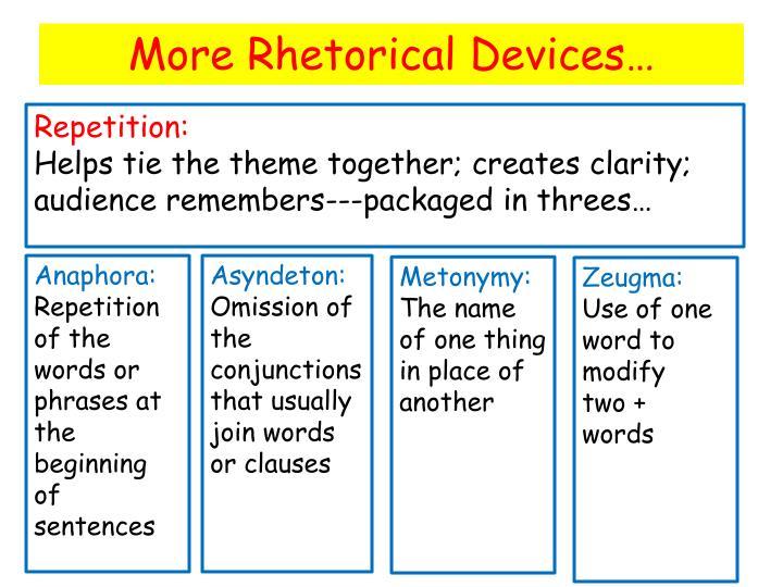 More Rhetorical Devices…