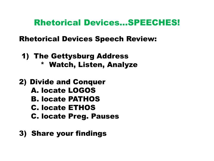 rhetorical devices gettysburg address