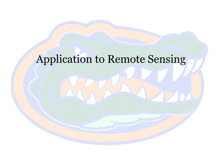 Application to Remote Sensing