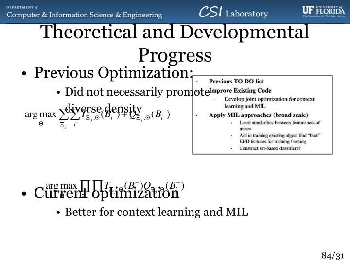 Theoretical and Developmental Progress