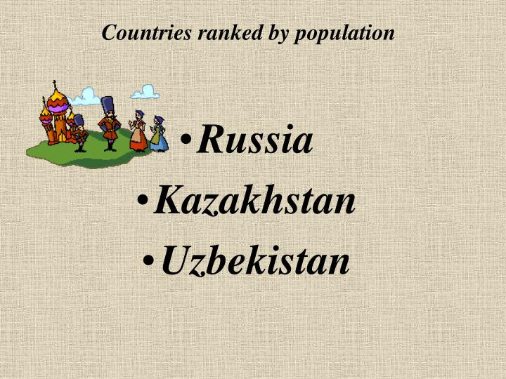 Countries ranked by population