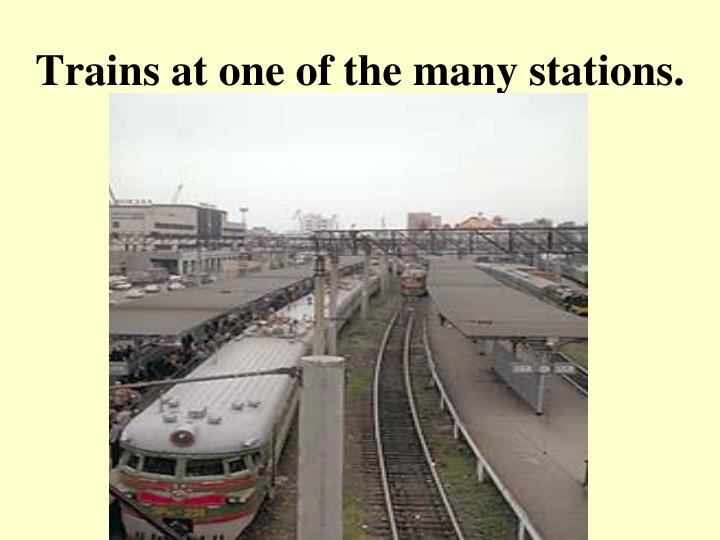 Trains at one of the many stations.
