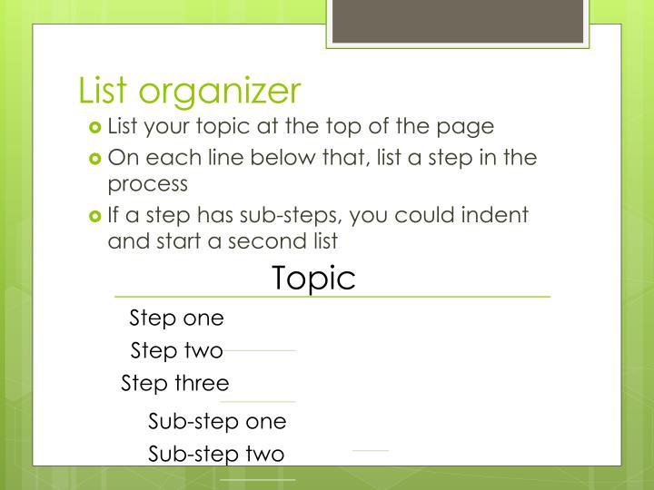 List organizer