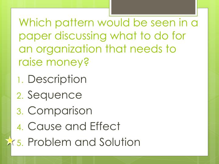 Which pattern would be seen in a paper discussing what to do for an organization that needs to raise money?