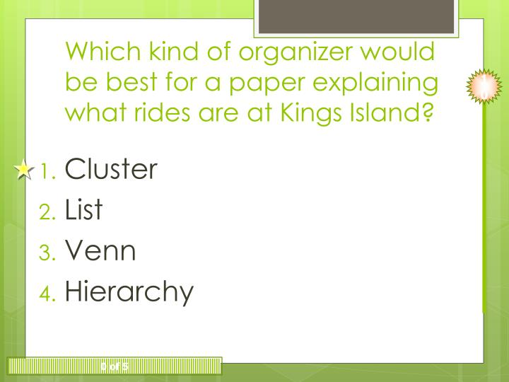Which kind of organizer would be best for a paper explaining what rides are at Kings Island?