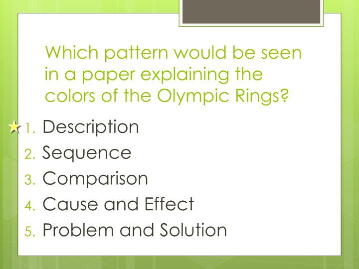 Which pattern would be seen in a paper explaining the colors of the Olympic Rings?