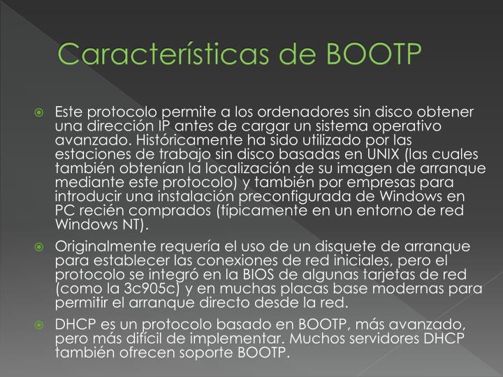 Características de BOOTP