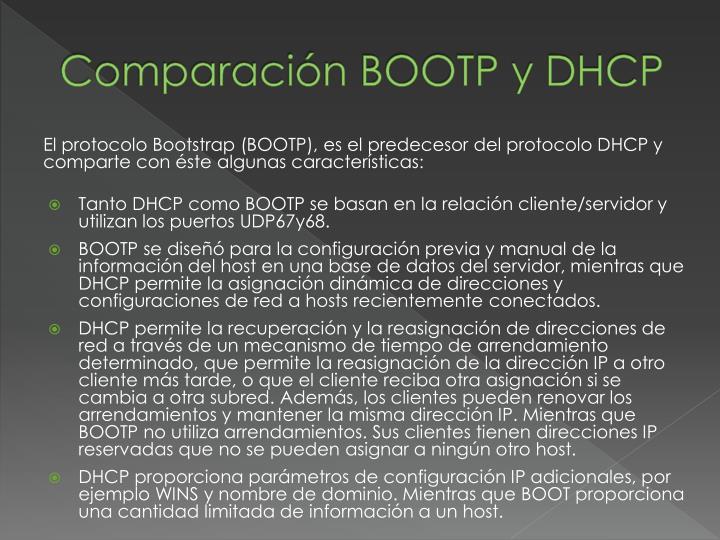 Comparación BOOTP y DHCP