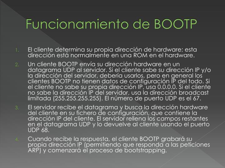 Funcionamiento de BOOTP