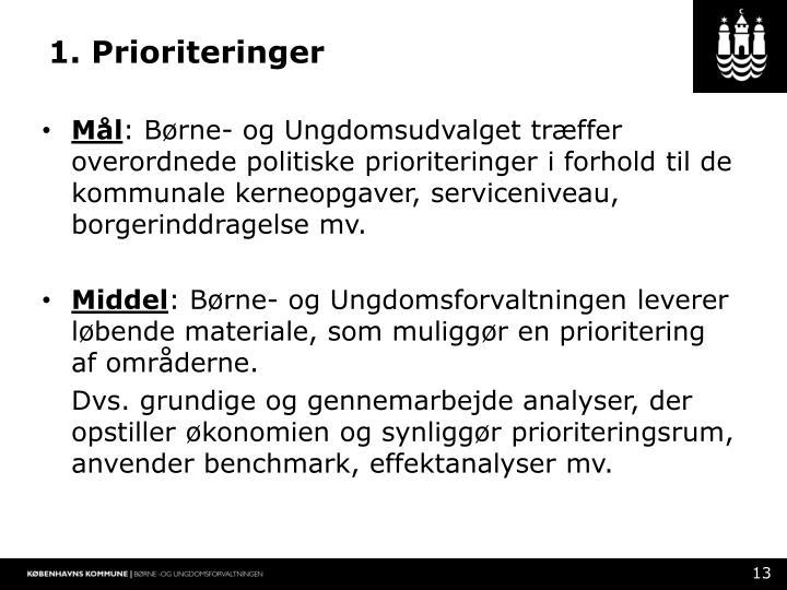 1. Prioriteringer