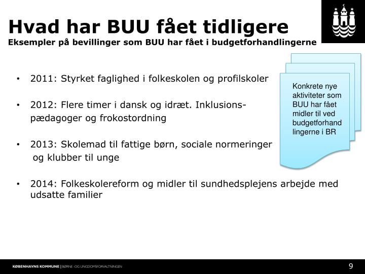 Hvad har BUU fået tidligere