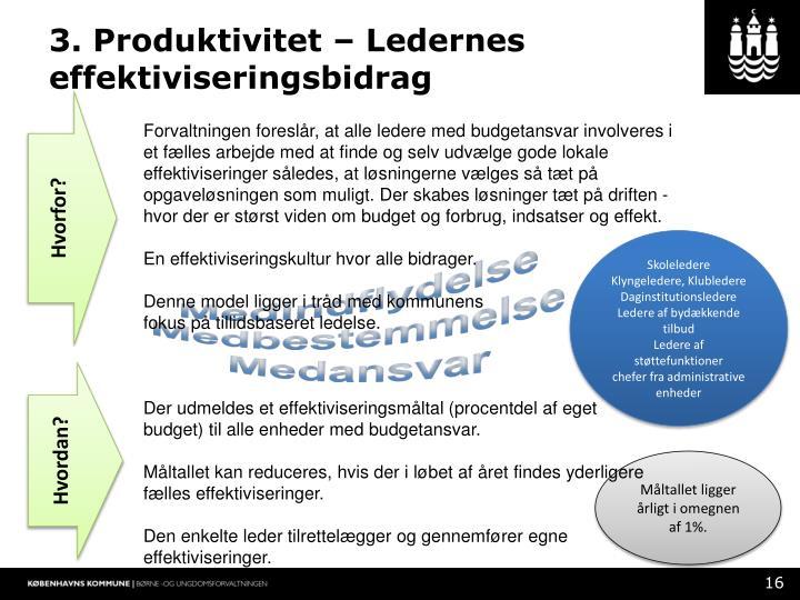 3. Produktivitet – Ledernes effektiviseringsbidrag